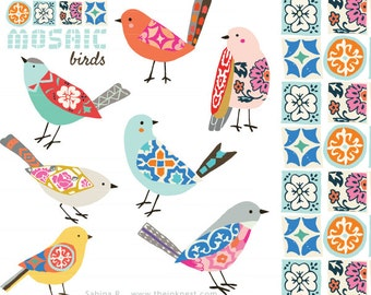 CLIP ART - Mosaic Birds - for commercial and personal use