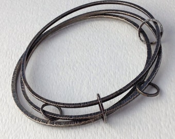 7 Circles Hammered Textured Oxidized Sterling Silver Bangle Bracelets, Handmade