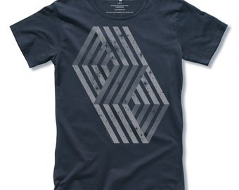 Mens Tshirts DOORS of PERCEPTION Hand Pulled Screen Print on Navy Mens Tee Shirt size S, M, L, XL - Free Shipping
