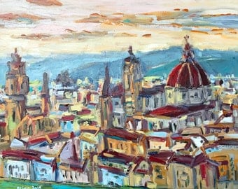 "Florence view  16""x20"" original Italy painting on canvas acrylic"