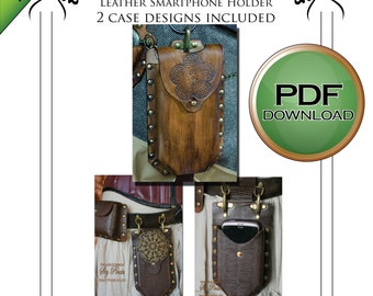 Pdf Leather Smart Phone Holder PATTERN. DGITAL DOWNLOAD soft leather/ fabric or veg tan Leather