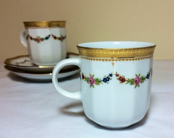 Vintage Demitasse Tirschenreuth Bavaria Petite Rose Pattern For R H Macy Exquisite