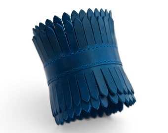 Blue leather cuff, Fringe, Royal blue cuff bracelet - Free Shipping - the Elektra