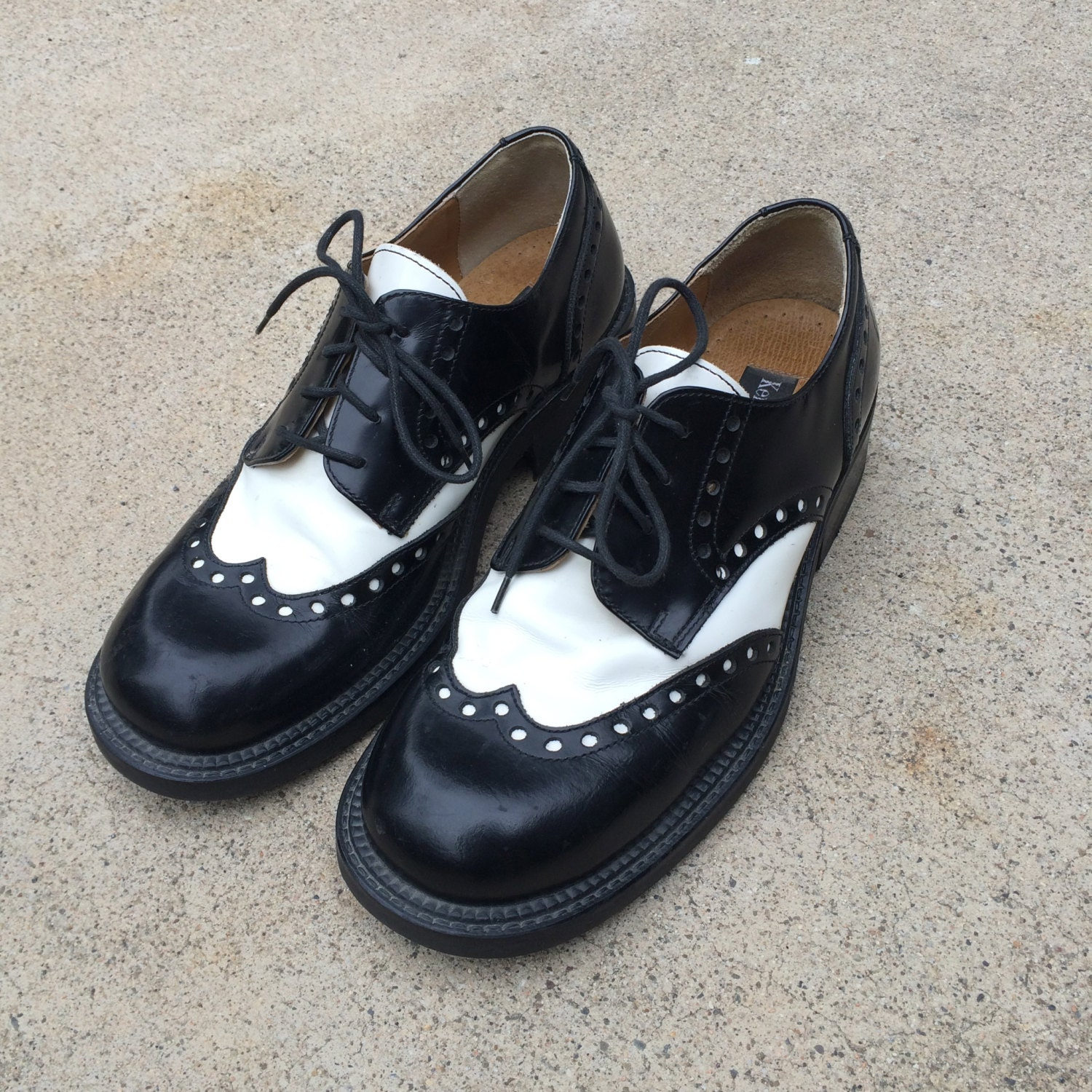 black and white 90s vintage chunky wingtip spectator shoes