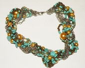 Turquoise Beaded and Chain Wrapped Necklace