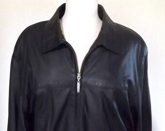 Vintage 90's Black Leather Jacket - Genuine Lambskin Jacket