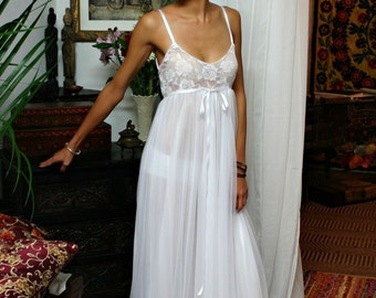 White Lace and Nylon Nightgown Camille Innocence Nightgown Bridal Lingerie Wedding Sleepwear Lingerie