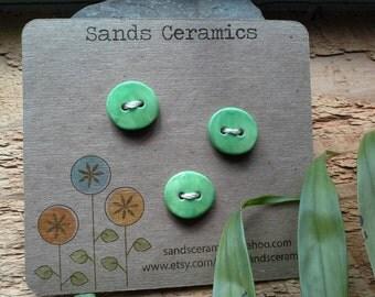 Ceramic Button Green Small Round 3