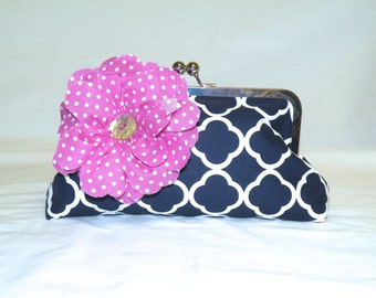 Large Clutch in Navy and White Quatrefoil Pattern, with Orchid and White Polka Dot Flower