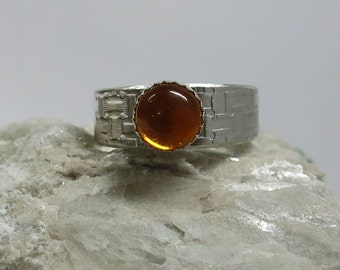 Amber Ring in Crafted Sterling Silver Artisan Style Size 9