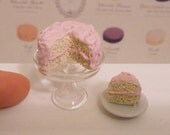Miniature Dollhouse Pale Pink Valentines Frosted Cake