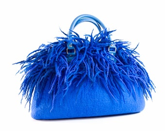 Felted blue purse felt handbag wool purse  small evening fringes ocean lazurite  bag unique Regina Doseth handmade in Lithuania EU