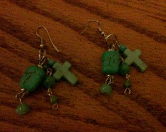 Tribal Turquoise Beaded Cross Earrings