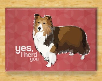 Sheltie Magnet - Yes I Herd You - Shetland Sheepdog Sheltie Gifts Refrigerator Fridge Dog Magnets