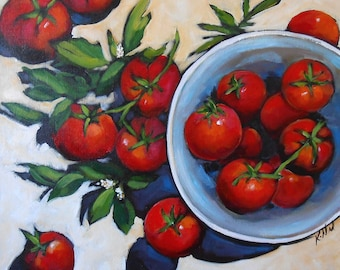 24x24 original painting - Tomatoes