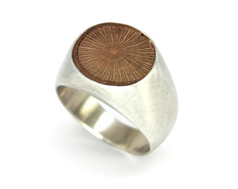 Silver Round Wood Ring