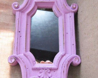 Petite Pretty Princess Pink Mirror/Tiny Vanity Tray /  Little Mini Mirror in Orchid Pink / Dollhouse Full-Length Miirror