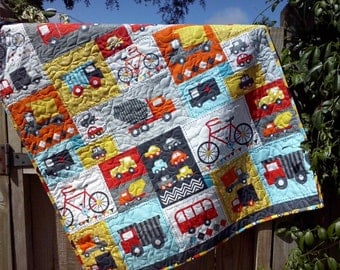 Baby Boy Quilt, Twin Bed Quilt,Full Bed Quilt Car Quilt, Truck Quilt, Baby Bedding, Toddler Bedding, Transport Quilt