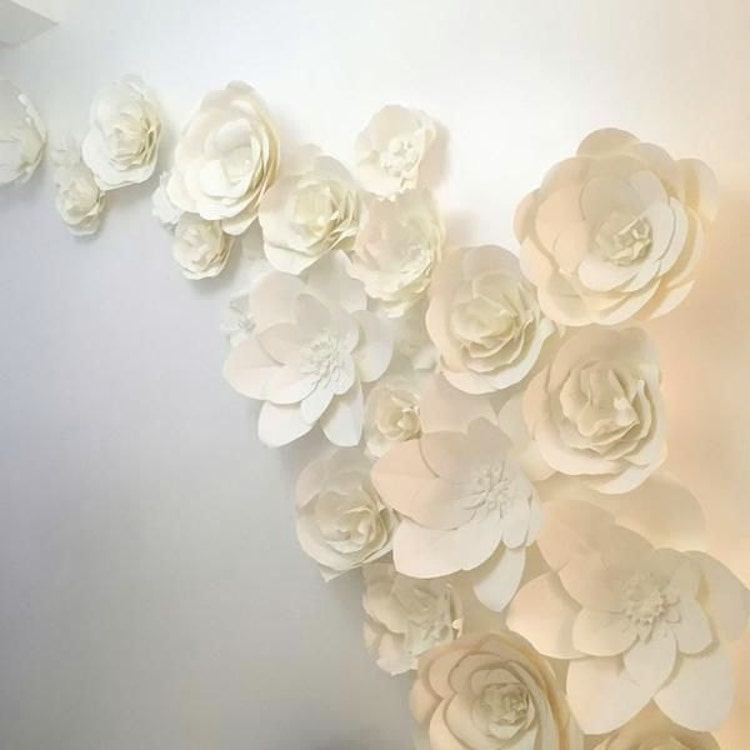 white backdrop paper Photo booth backstop, quince celebrations pink, gold and water paper flowers.