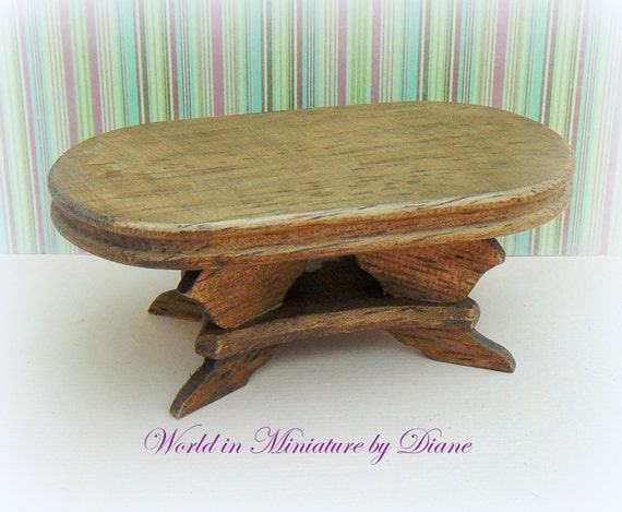 Dollhouse Oval Coffee Table Country Rustic By Worldinminiatureuk