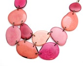 Tagua necklace. Pink Necklace. Tagua nut jewelry. Pink red coral peach rose statement necklace. Sela Designs. Lightweight statement necklace
