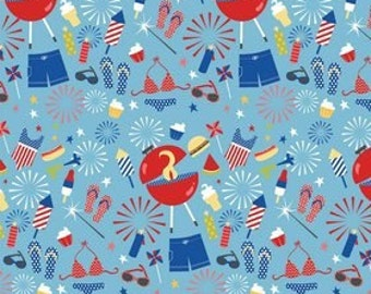Riley Blake Designs Fabric Summer Blue Main - 1 yard