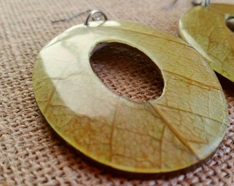 Mango Manga Leaves Coconut Big Statement Earrings Oval Eco Friendly
