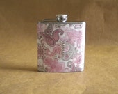 Woman's Gift Pink and Gray Paisley Print with ANY Rhinestone Initial 6 ounce Stainless Steel Girl Gift Flask KR2D 5471