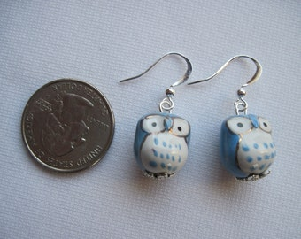 owl earrings made of ceramic with hypoallergenic ear wires