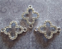 Jewelry Connectors Links Charms - Cut Out Silver 4 Leaf Clover with Clear Rhinestones - 19mm x 27mm - 3 pieces