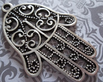Lacy Hamsa Hand of Fatima Pendants - Ethnic Style - Oxidized & Antiqued Silver Sterling Plated Pewter - Qty 1