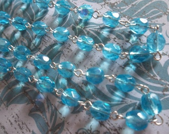 Aqua Blue AB 6mm Fire Polished Glass Beads on Silver Beaded Chain - Qty 18 Inch strand