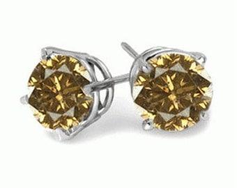 champagne diamond stud earring 14k gold