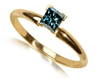 blue diamond ring 14k yellow gold