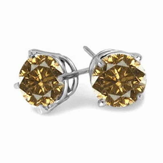 champagne diamond stud earring 14k gold. Black Bedroom Furniture Sets. Home Design Ideas