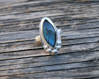 50% OFF SALE - Labradorite Sterling Silver Ring - Size 5.5