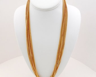 Vintage Goldtone 6 Layer Chain Necklace