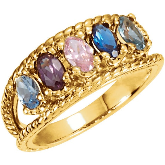 five stone mothers ring 14kt yellow gold oval stones by. Black Bedroom Furniture Sets. Home Design Ideas