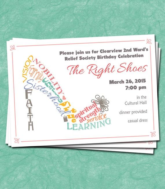 Relief Society Birthday Invitation High Heel Shoe The Right