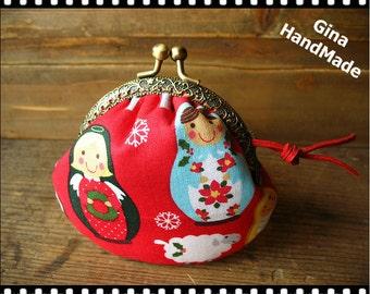 Dolls Metal Coin bag / frame purse/ coin purse / Coin Wallet   /Pouch / Kiss lock frame bag-GinaHandMade