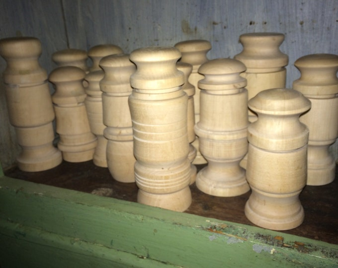 New! Antique Style 2-Piece Turned Nutmeg Grinders, Pepper Mills, Spice Graters! Ready for finishing, distressing, painting