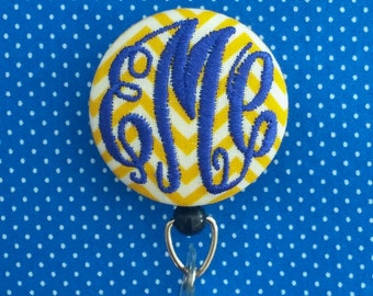 Retractable Monogrammed Button Badge Reel / Name Badge Holder, lots of fabrics including chevron, stripes and polka dots by Flowersaks