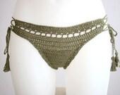 Crochet bikini bottom with tassels, Brazilian bikini, olive crochet bottom, Beach wear, Cheek bottom