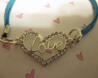 Silver Heart with Love in the Middle Bracelet
