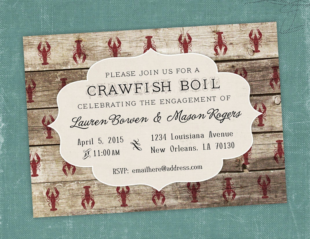 This is an image of Gutsy Crawfish Boil Invitations Free Printable