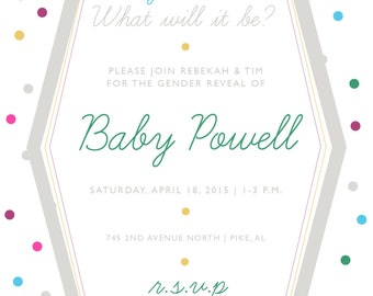 Digital Invitation-Gender Reveal Party-Multiple Color Option
