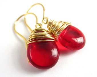 Red Earrings Wire Wrapped Earrings Ruby Earrings July Birthstone Jewelry Red Jewelry Wire Wrapped Jewelry Handmade