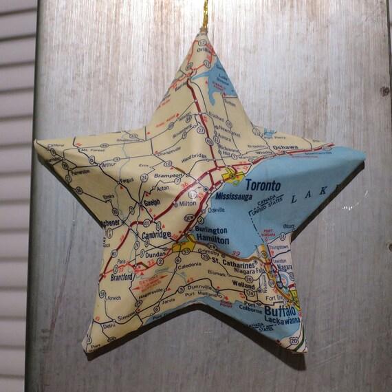 Toronto Qu Bec Canada Vintage Map Covered Star Ornament