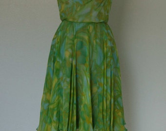1960s Printed Silk Chiffon Dress // Grecian Pleated Bodice // Ceil Chapman for Miss Winston // Watercolor Floral