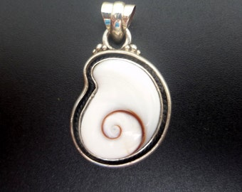 Shell Pendant - Sterling Silver and Shiva Eye Pendant - Handmade Silver and White Shell Statement Pendant - White Shell Spiral Pendant